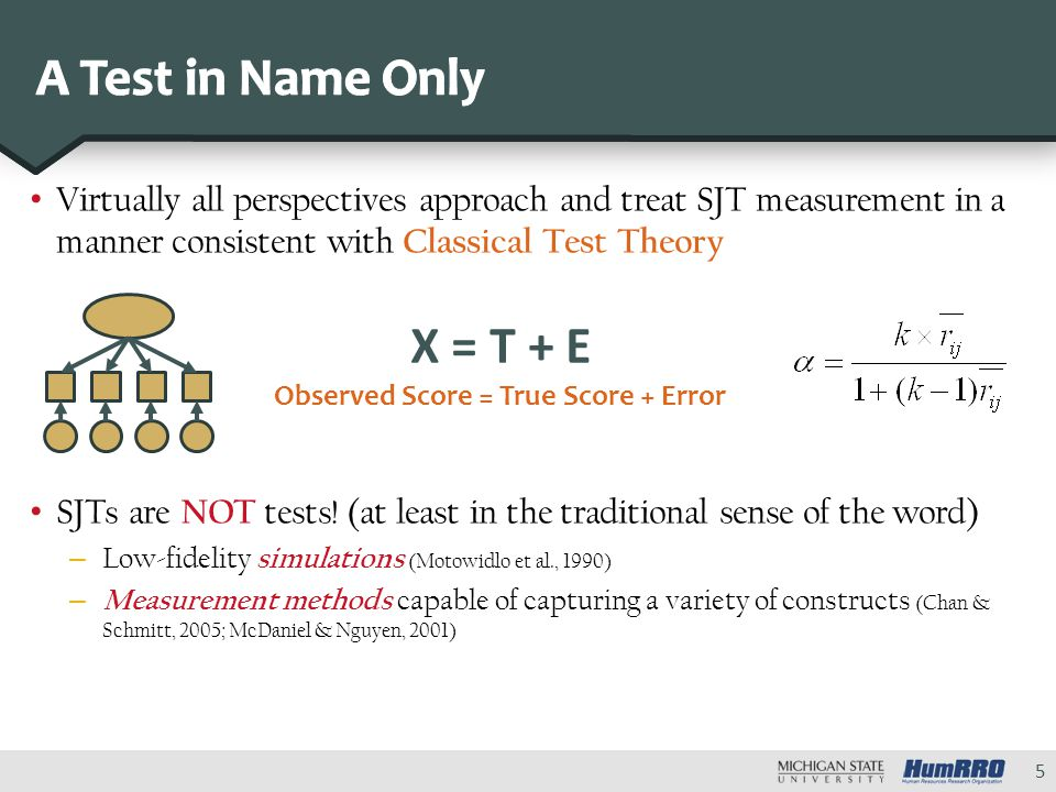 Virtually all perspectives approach and treat SJT measurement in a manner consistent with Classical Test Theory SJTs are NOT tests.