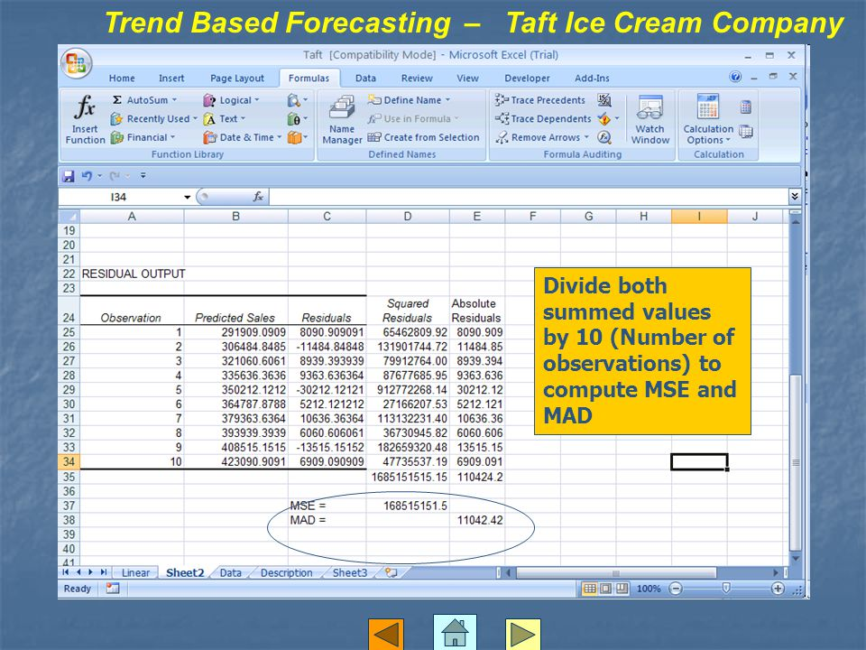 Trend Based Forecasting – Taft Ice Cream Company Divide both summed values by 10 (Number of observations) to compute MSE and MAD