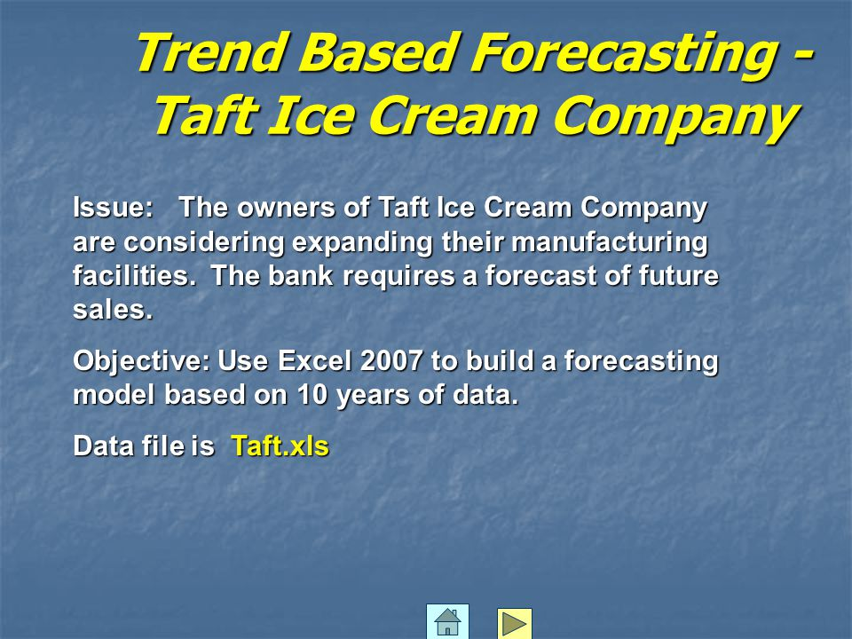 Trend Based Forecasting - Taft Ice Cream Company Issue: The owners of Taft Ice Cream Company are considering expanding their manufacturing facilities.