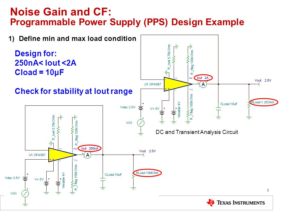 Noise Gain and CF: Programmable Power Supply (PPS) Design Example 3 Design for: 250nA< Iout <2A Cload = 10μF Check for stability at Iout range DC and