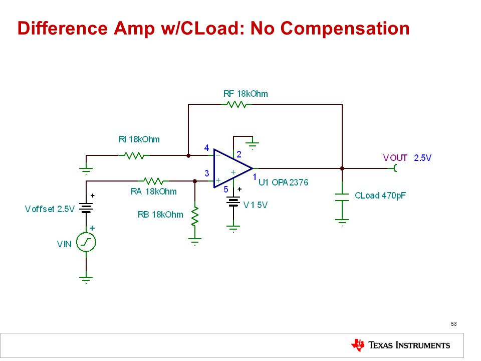 Difference Amp w/CLoad: No Compensation 58