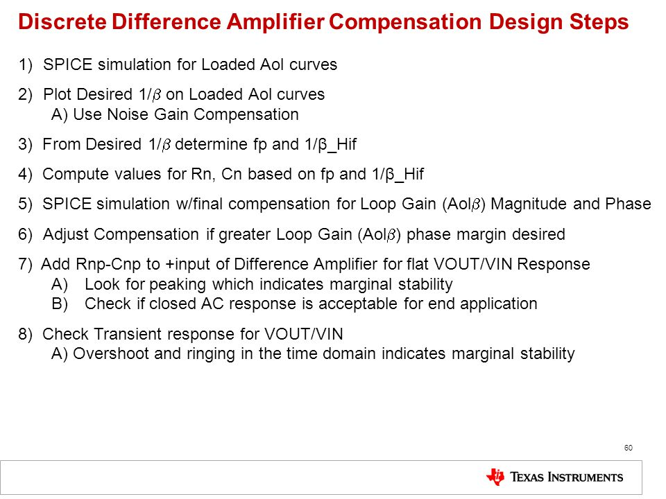 Discrete Difference Amplifier Compensation Design Steps 1)SPICE simulation for Loaded Aol curves 2)Plot Desired 1/  on Loaded Aol curves A) Use Noise
