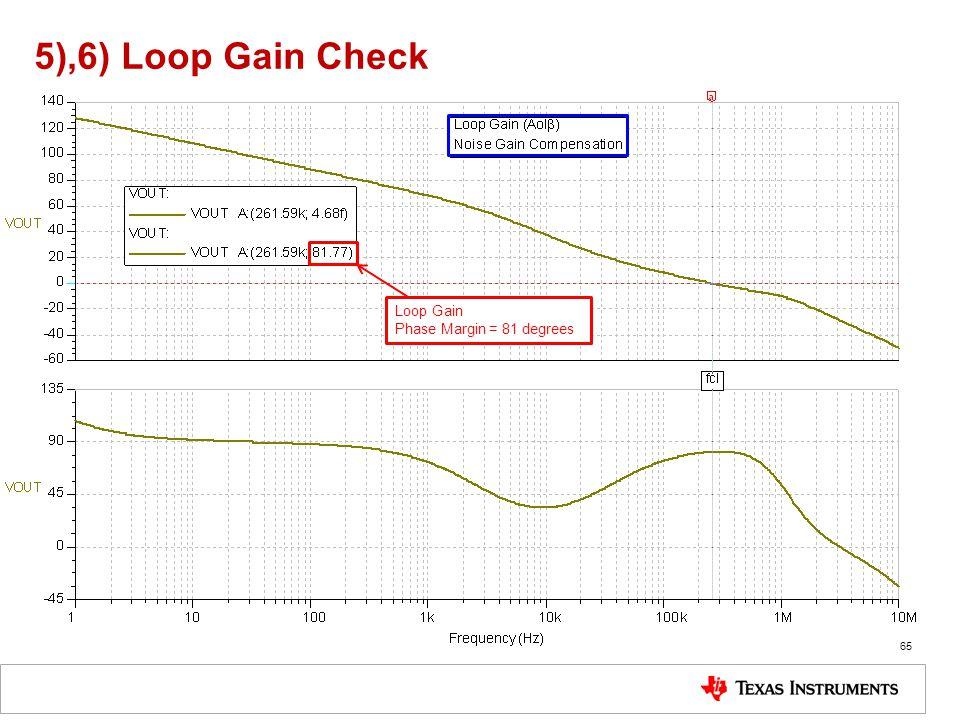 5),6) Loop Gain Check 65 Loop Gain Phase Margin = 81 degrees