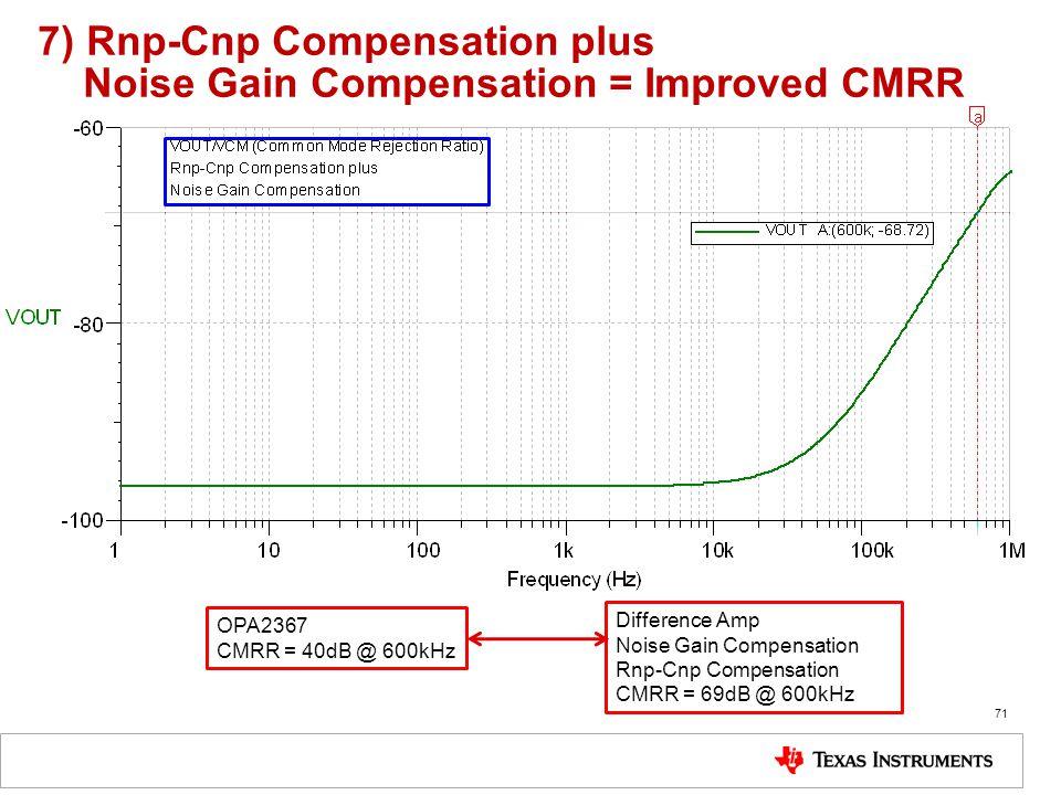 7) Rnp-Cnp Compensation plus Noise Gain Compensation = Improved CMRR 71 OPA2367 CMRR = 40dB @ 600kHz Difference Amp Noise Gain Compensation Rnp-Cnp Co