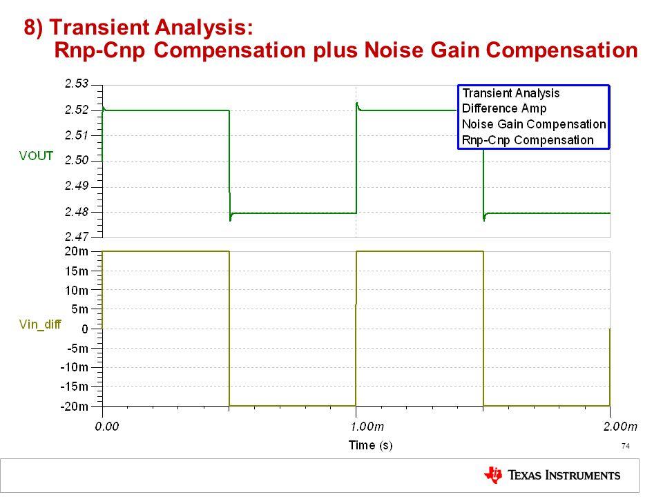 8) Transient Analysis: Rnp-Cnp Compensation plus Noise Gain Compensation 74