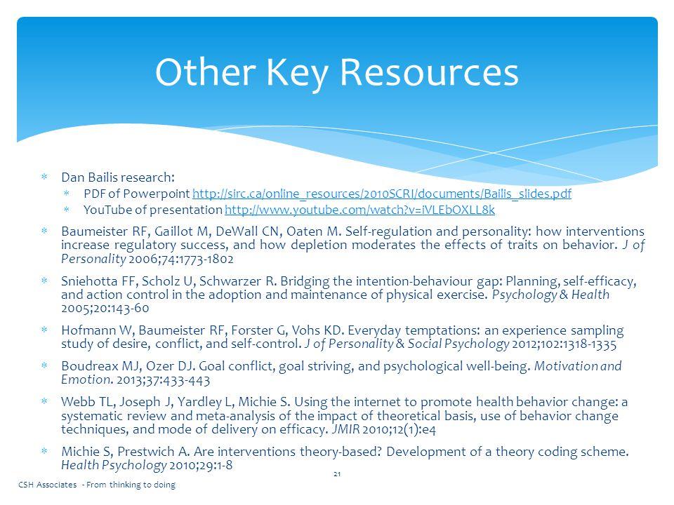  Dan Bailis research:  PDF of Powerpoint http://sirc.ca/online_resources/2010SCRI/documents/Bailis_slides.pdfhttp://sirc.ca/online_resources/2010SCR