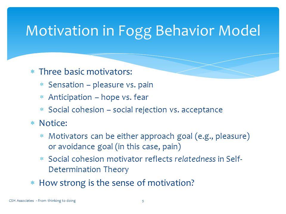  Three basic motivators:  Sensation – pleasure vs. pain  Anticipation – hope vs. fear  Social cohesion – social rejection vs. acceptance  Notice: