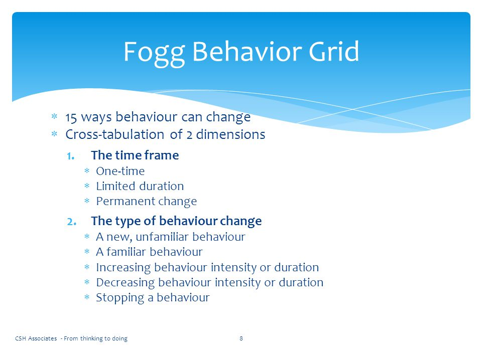  15 ways behaviour can change  Cross-tabulation of 2 dimensions 1.The time frame  One-time  Limited duration  Permanent change 2.The type of beha