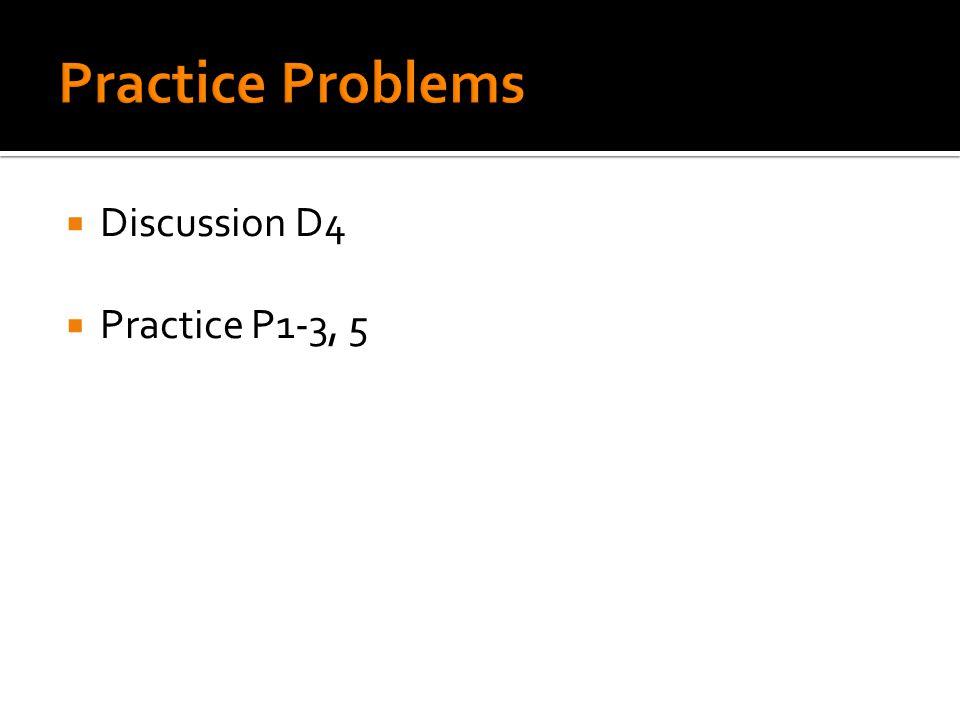  Discussion D4  Practice P1-3, 5