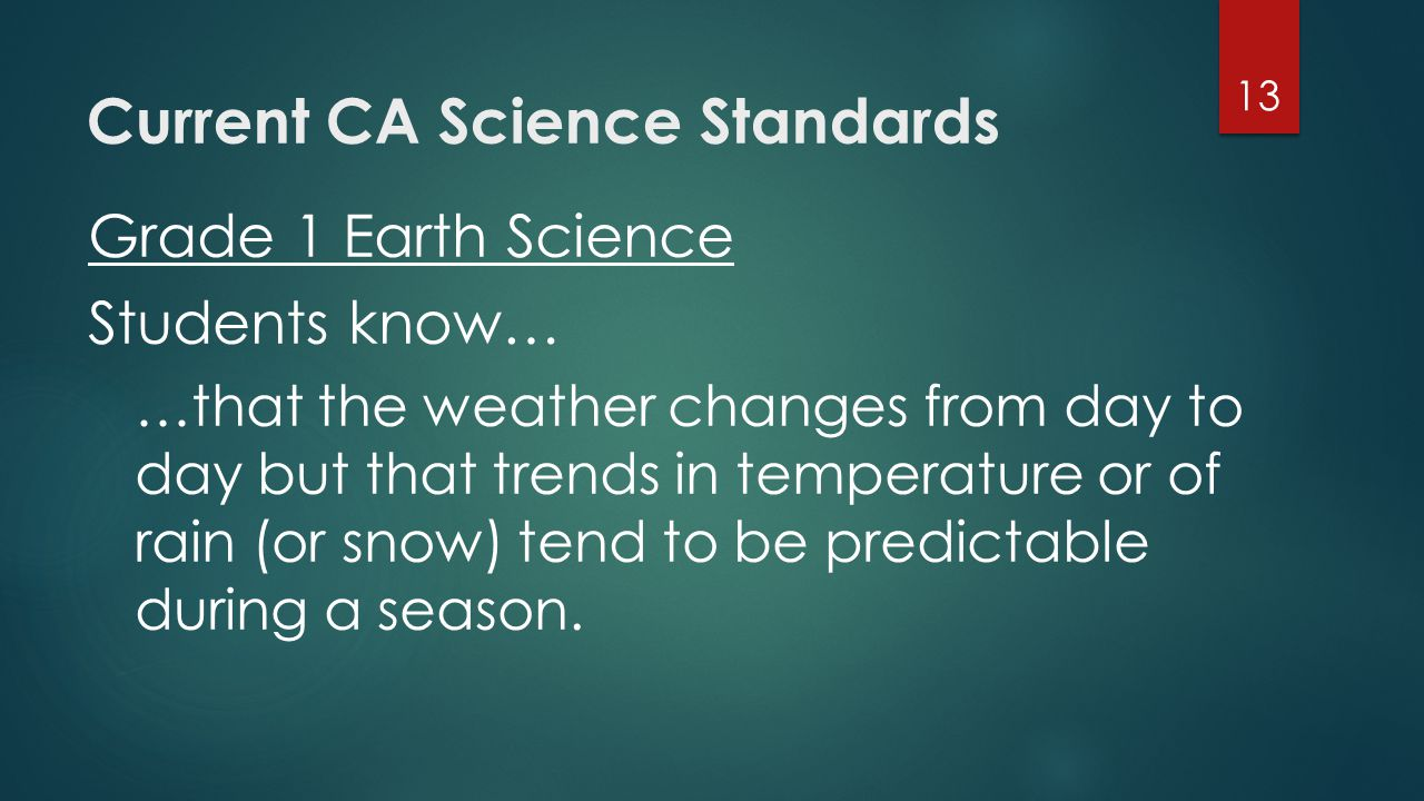 Current CA Science Standards Grade 1 Earth Science Students know… …that the weather changes from day to day but that trends in temperature or of rain