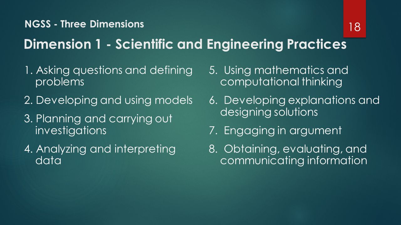 NGSS - Three Dimensions Dimension 1 - Scientific and Engineering Practices 1. Asking questions and defining problems 2. Developing and using models 3.