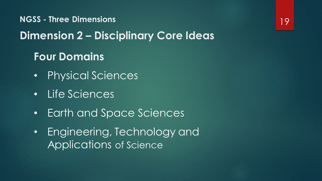 NGSS - Three Dimensions Four Domains Physical Sciences Life Sciences Earth and Space Sciences Engineering, Technology and Applications of Science Dime