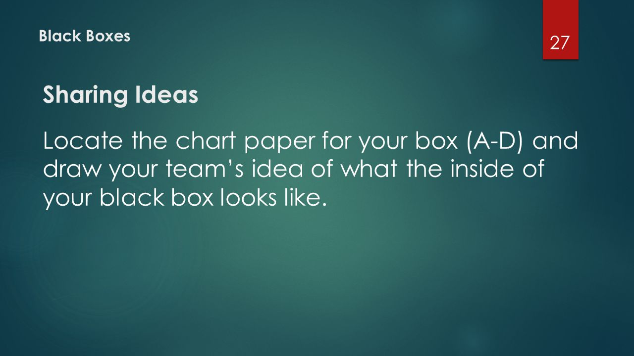 Black Boxes Sharing Ideas Locate the chart paper for your box (A-D) and draw your team's idea of what the inside of your black box looks like. 27