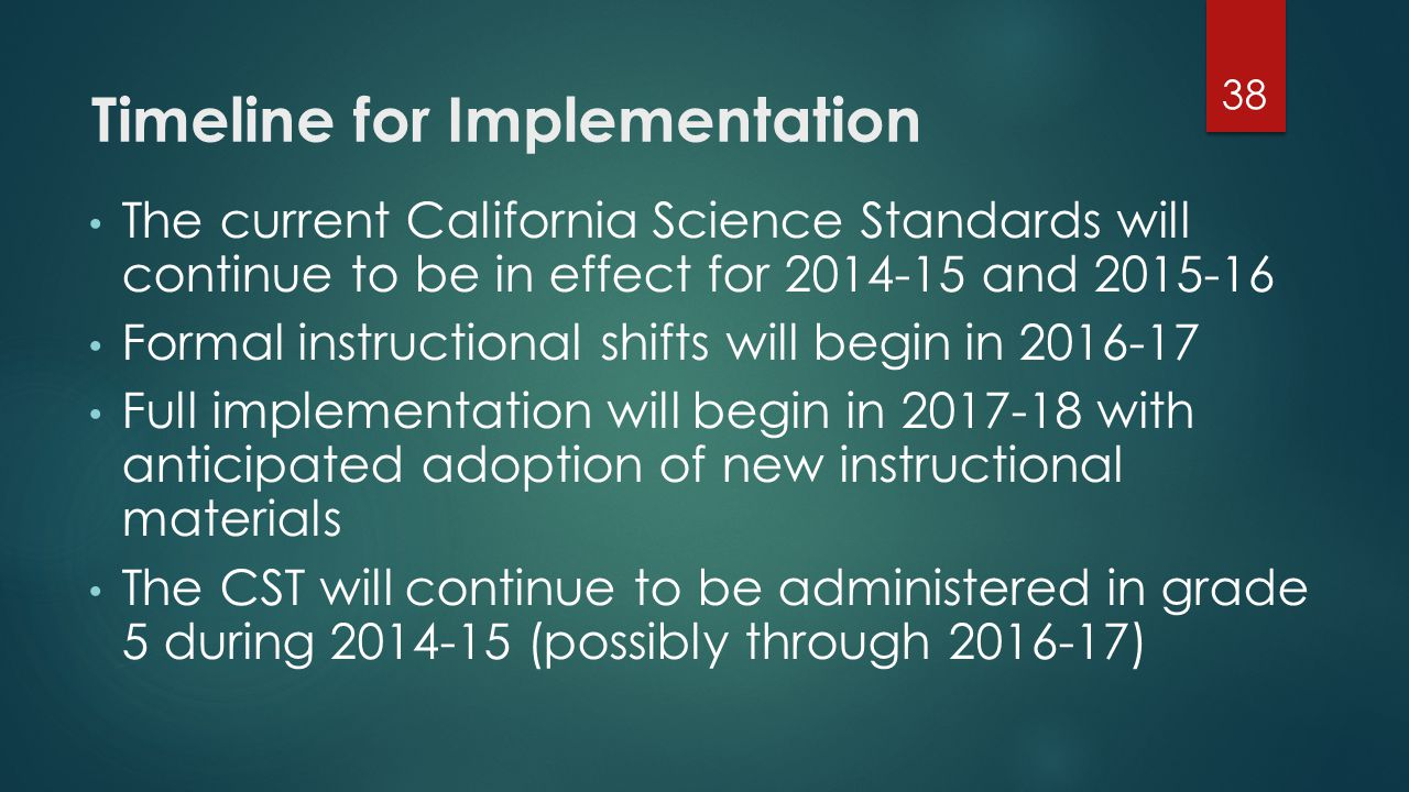 Timeline for Implementation The current California Science Standards will continue to be in effect for 2014-15 and 2015-16 Formal instructional shifts