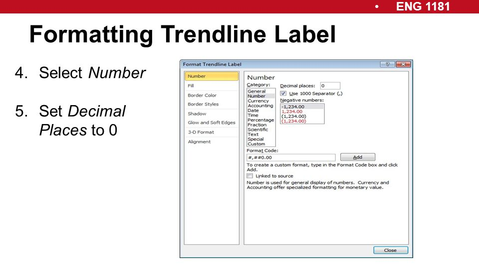 ENG 1181 Formatting Trendline Label 4.Select Number 5.Set Decimal Places to 0