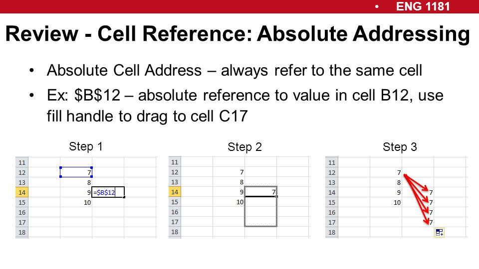 ENG 1181 Review - Cell Reference: Absolute Addressing Absolute Cell Address – always refer to the same cell Ex: $B$12 – absolute reference to value in