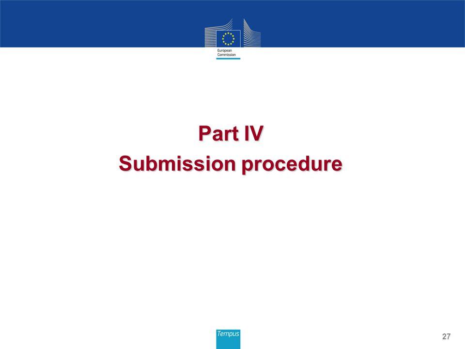 Part IV Submission procedure 27
