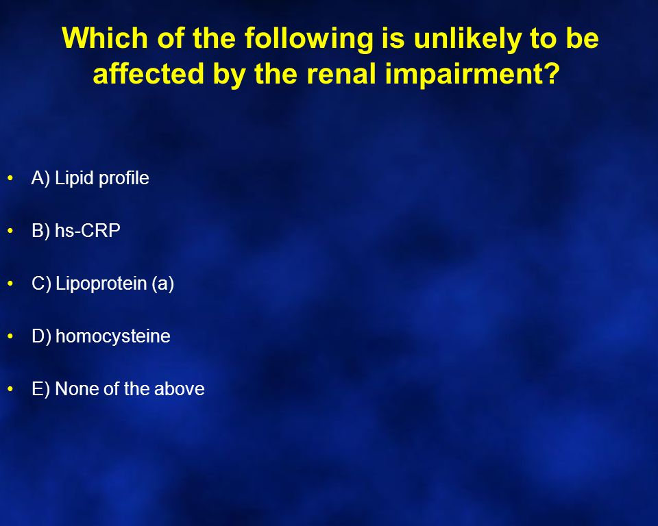 Which of the following is unlikely to be affected by the renal impairment.