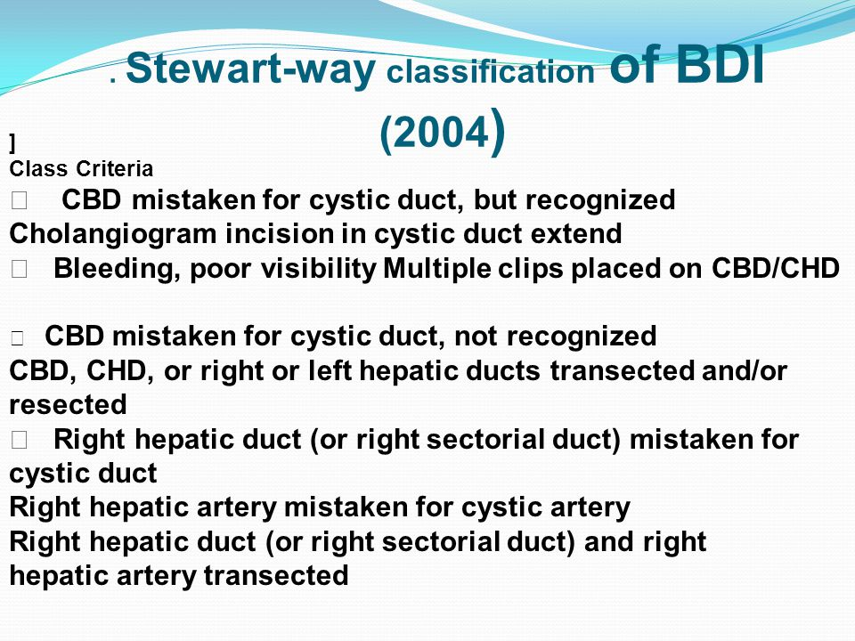 . Stewart-way classification of BDI (2004 ) ] Class Criteria Ⅰ CBD mistaken for cystic duct, but recognized Cholangiogram incision in cystic duct exte