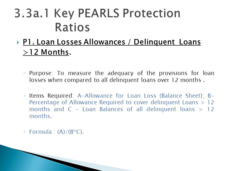  P1. Loan Losses Allowances / Delinquent Loans >12 Months. ◦ Purpose: To measure the adequacy of the provisions for loan losses when compared to all