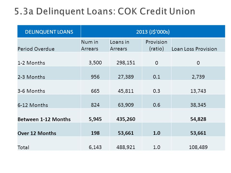 DELINQUENT LOANS2013 (J$'000s) Period Overdue Num in Arrears Loans in Arrears Provision (ratio)Loan Loss Provision 1-2 Months 3,500 298,15100 2-3 Months 956 27,389 0.1 2,739 3-6 Months 665 45,811 0.3 13,743 6-12 Months 824 63,909 0.6 38,345 Between 1-12 Months 5,945 435,260 54,828 Over 12 Months 198 53,661 1.0 53,661 Total 6,143 488,921 1.0 108,489