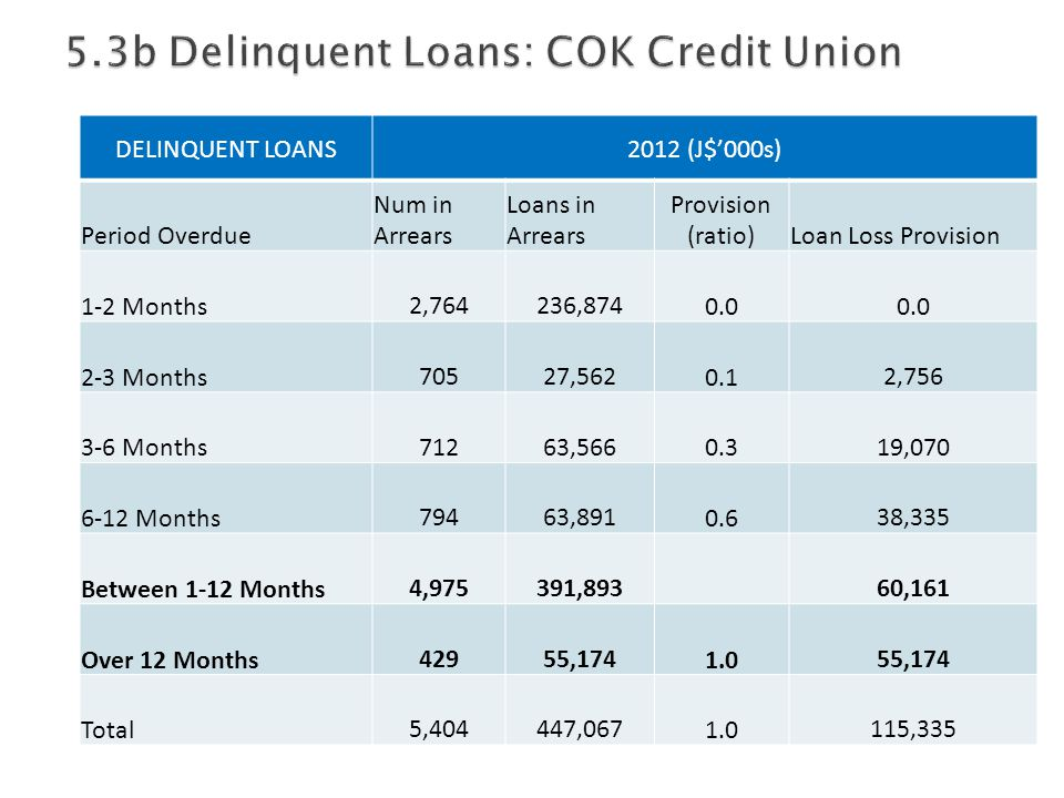 DELINQUENT LOANS2012 (J$'000s) Period Overdue Num in Arrears Loans in Arrears Provision (ratio)Loan Loss Provision 1-2 Months 2,764 236,8740.0 2-3 Mon