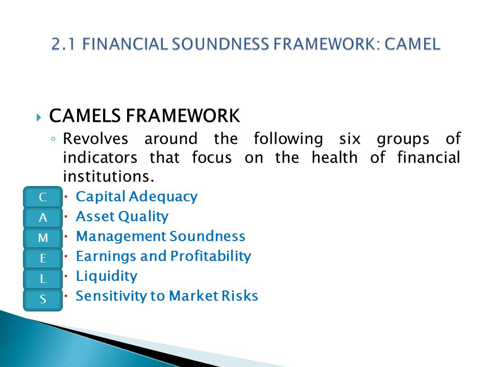  CAMELS FRAMEWORK ◦ Revolves around the following six groups of indicators that focus on the health of financial institutions.  Capital Adequacy  A
