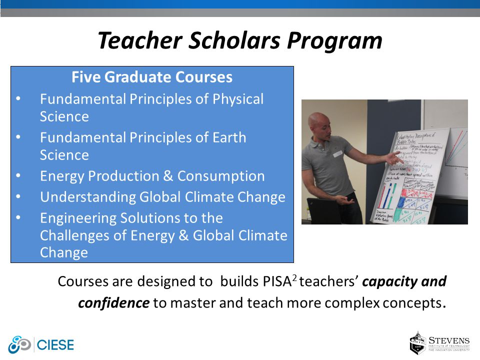 Courses are designed to builds PISA 2 teachers' capacity and confidence to master and teach more complex concepts. Teacher Scholars Program Five Gradu