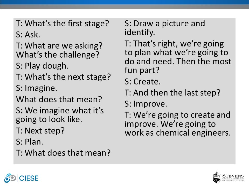 T: What's the first stage.S: Ask. T: What are we asking.