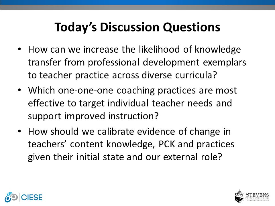 How can we increase the likelihood of knowledge transfer from professional development exemplars to teacher practice across diverse curricula? Which o