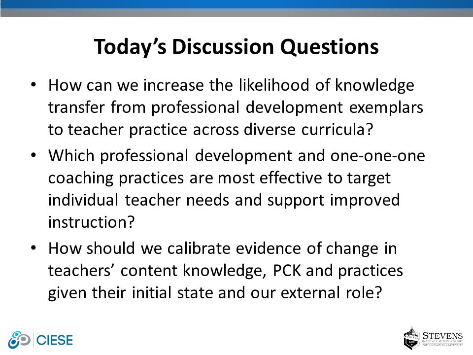 How can we increase the likelihood of knowledge transfer from professional development exemplars to teacher practice across diverse curricula? Which p