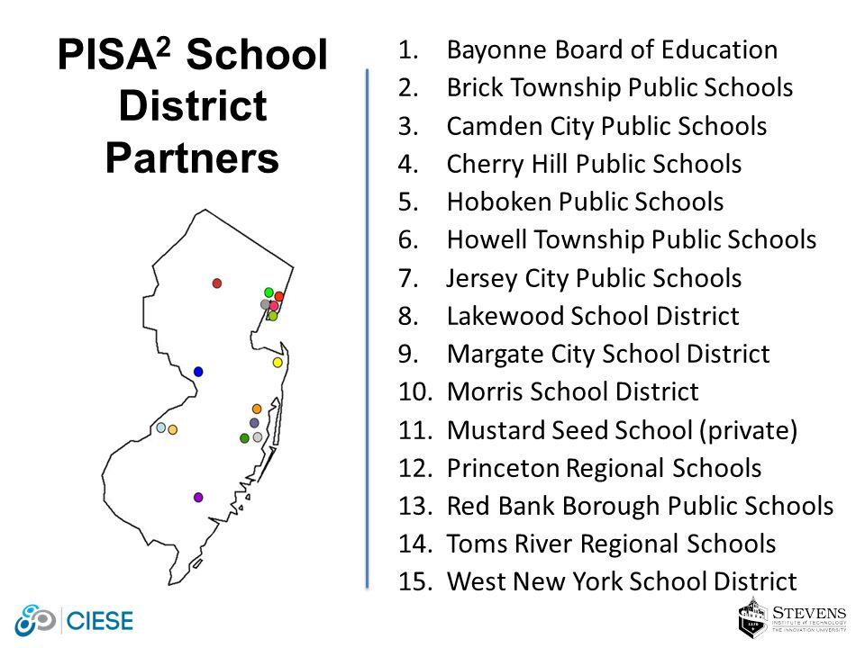 1.Bayonne Board of Education 2.Brick Township Public Schools 3.Camden City Public Schools 4.Cherry Hill Public Schools 5.Hoboken Public Schools 6.Howe
