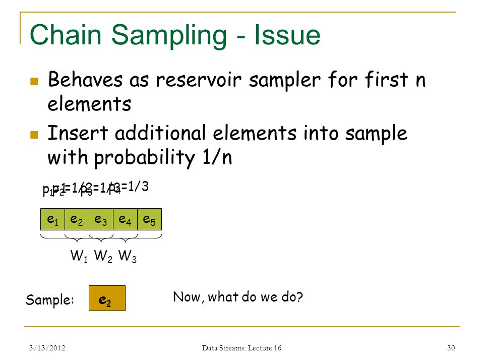 3/13/2012 Data Streams: Lecture 16 30 Chain Sampling - Issue Behaves as reservoir sampler for first n elements Insert additional elements into sample with probability 1/n e1e1 Sample: e2e2 e5e5 e4e4 e3e3 e1e1 W1W1 p 1 =1 p 2 =1/2p 3 =1/3 p 4 =1/3 e2e2 W2W2 W3W3 Now, what do we do