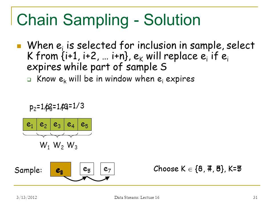 3/13/2012 Data Streams: Lecture 16 31 Chain Sampling - Solution When e i is selected for inclusion in sample, select K from {i+1, i+2, … i+n}, e K will replace e i if e i expires while part of sample S  Know e k will be in window when e i expires e1e1 Sample: e2e2 e5e5 e4e4 e3e3 e1e1 W1W1 p 2 =1/2p 3 =1/3 p 4 =1/3 e2e2 W2W2 W3W3 Choose K  {3, 4, 5}, K=5 e5e5 Choose K  {6, 7, 8}, K=7 e7e7 e5e5 e7e7