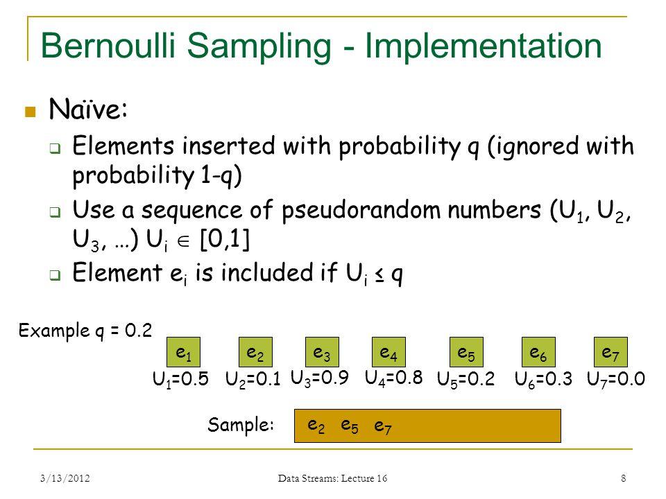 3/13/2012 Data Streams: Lecture 16 8 Bernoulli Sampling - Implementation Naïve:  Elements inserted with probability q (ignored with probability 1-q)  Use a sequence of pseudorandom numbers (U 1, U 2, U 3, …) U i  [0,1]  Element e i is included if U i ≤ q e1e1 Sample: e2e2 e6e6 e5e5 e4e4 e3e3 U 1 =0.5U 2 =0.1 e2e2 e5e5 U 3 =0.9 e7e7 U 4 =0.8 U 5 =0.2U 6 =0.3 e7e7 U 7 =0.0 Example q = 0.2