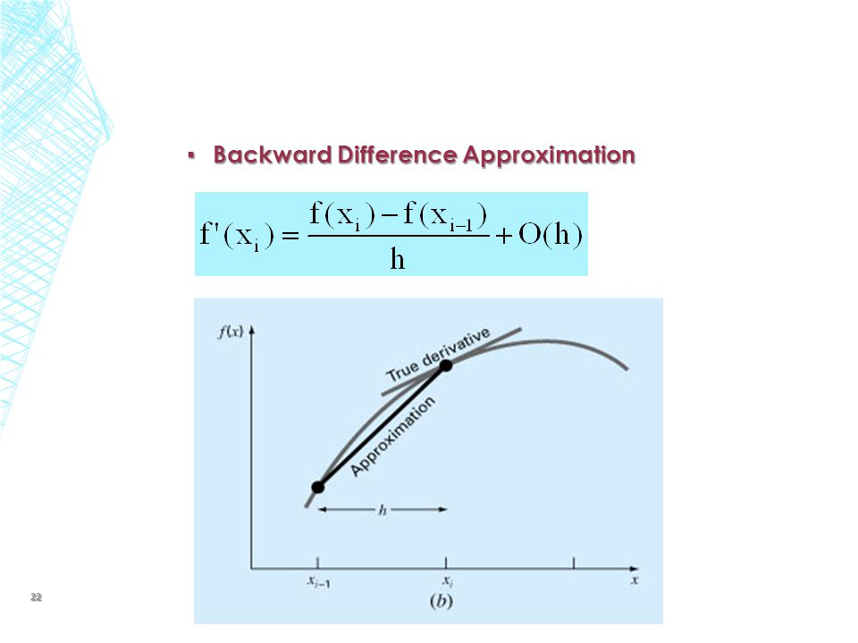 ▪ Backward Difference Approximation 22