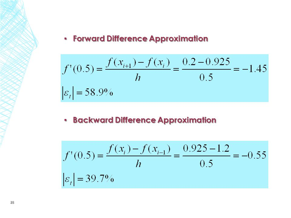 ▪ Forward Difference Approximation ▪ Backward Difference Approximation 25