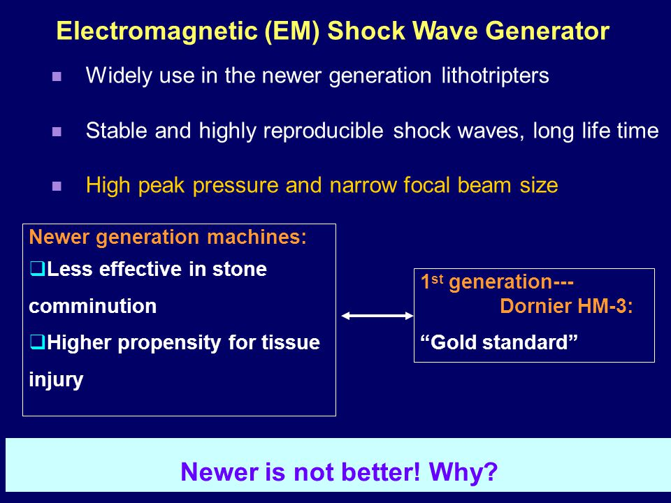 Electromagnetic (EM) Shock Wave Generator Widely use in the newer generation lithotripters Stable and highly reproducible shock waves, long life time High peak pressure and narrow focal beam size 1 st generation--- Dornier HM-3: Gold standard Newer generation machines:  Less effective in stone comminution  Higher propensity for tissue injury Newer is not better.