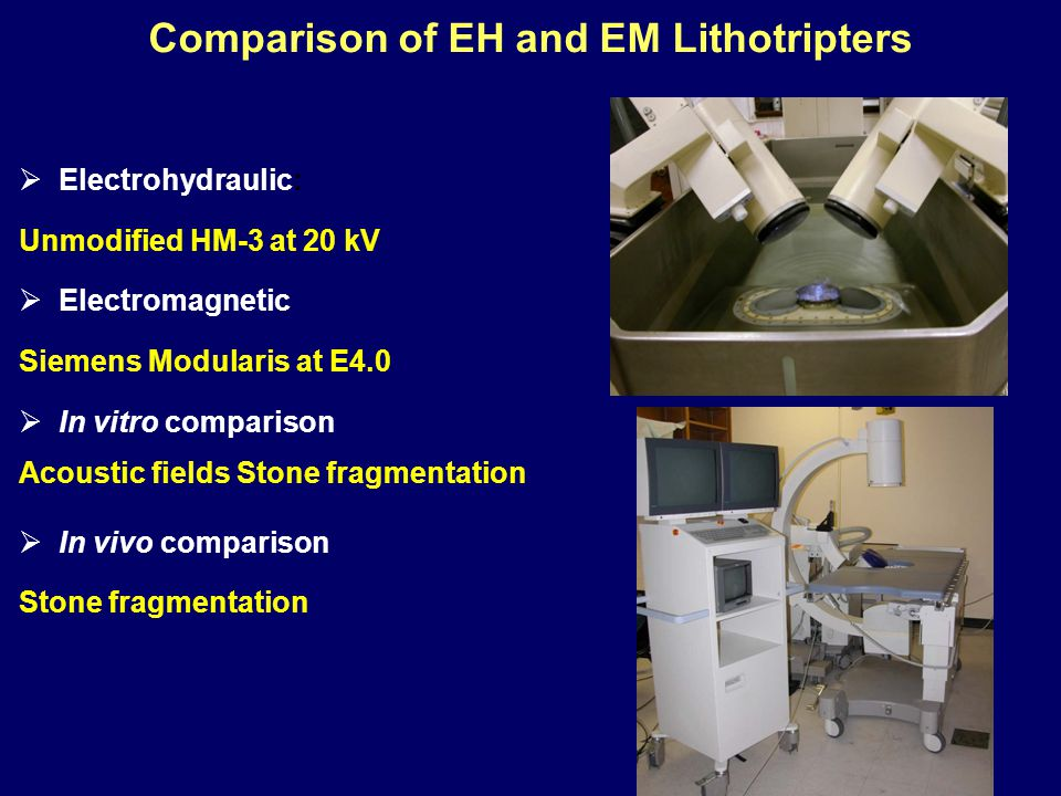 Comparison of EH and EM Lithotripters  Electrohydraulic: Unmodified HM-3 at 20 kV  Electromagnetic Siemens Modularis at E4.0  In vitro comparison Acoustic fields Stone fragmentation  In vivo comparison Stone fragmentation