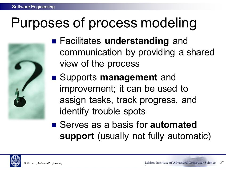 Software Engineering Purposes of process modeling Facilitates understanding and communication by providing a shared view of the process Supports manag