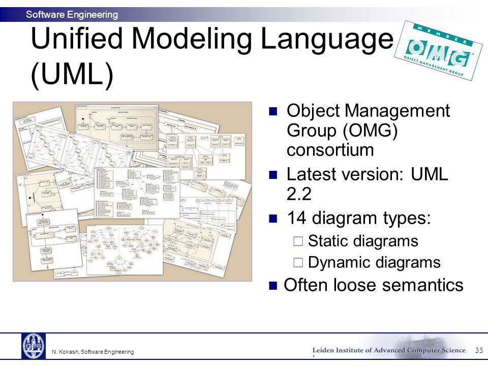 Software Engineering Unified Modeling Language (UML) Object Management Group (OMG) consortium Latest version: UML 2.2 14 diagram types:  Static diagrams  Dynamic diagrams Often loose semantics 35 N.