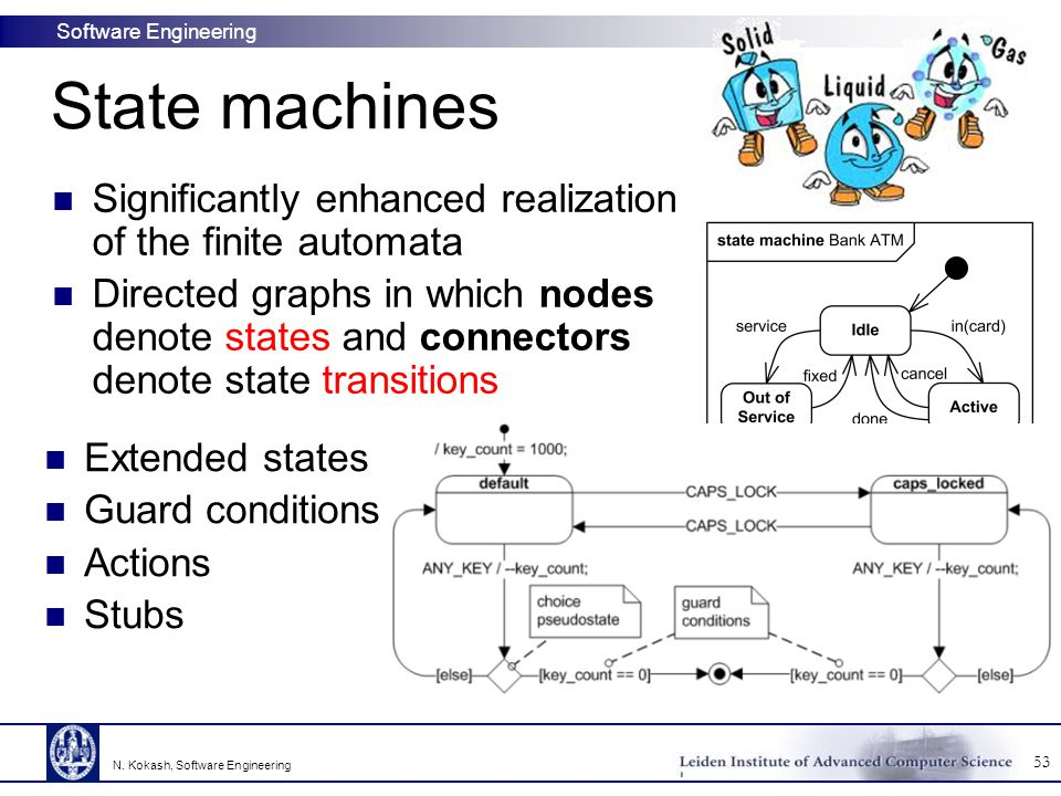 Software Engineering State machines 53 N. Kokash, Software Engineering Significantly enhanced realization of the finite automata Directed graphs in wh