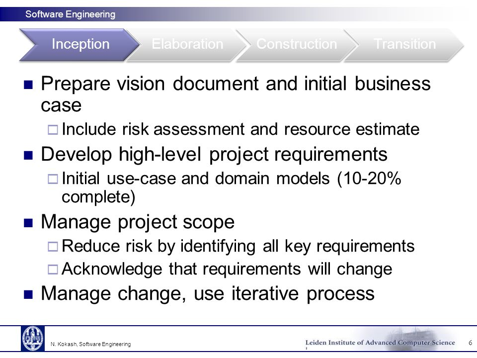 Software Engineering Prepare vision document and initial business case  Include risk assessment and resource estimate Develop high-level project requirements  Initial use-case and domain models (10-20% complete) Manage project scope  Reduce risk by identifying all key requirements  Acknowledge that requirements will change Manage change, use iterative process 6 N.
