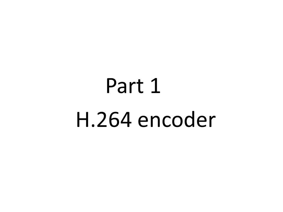 Part 1 H.264 encoder