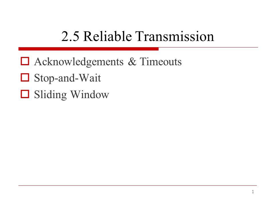 12 SenderReceiver Frame 0 Frame 1 Frame 0 ACK 0 ACK 1 ACK 0 Timeline for stop-and-wait with 1-bit sequence number