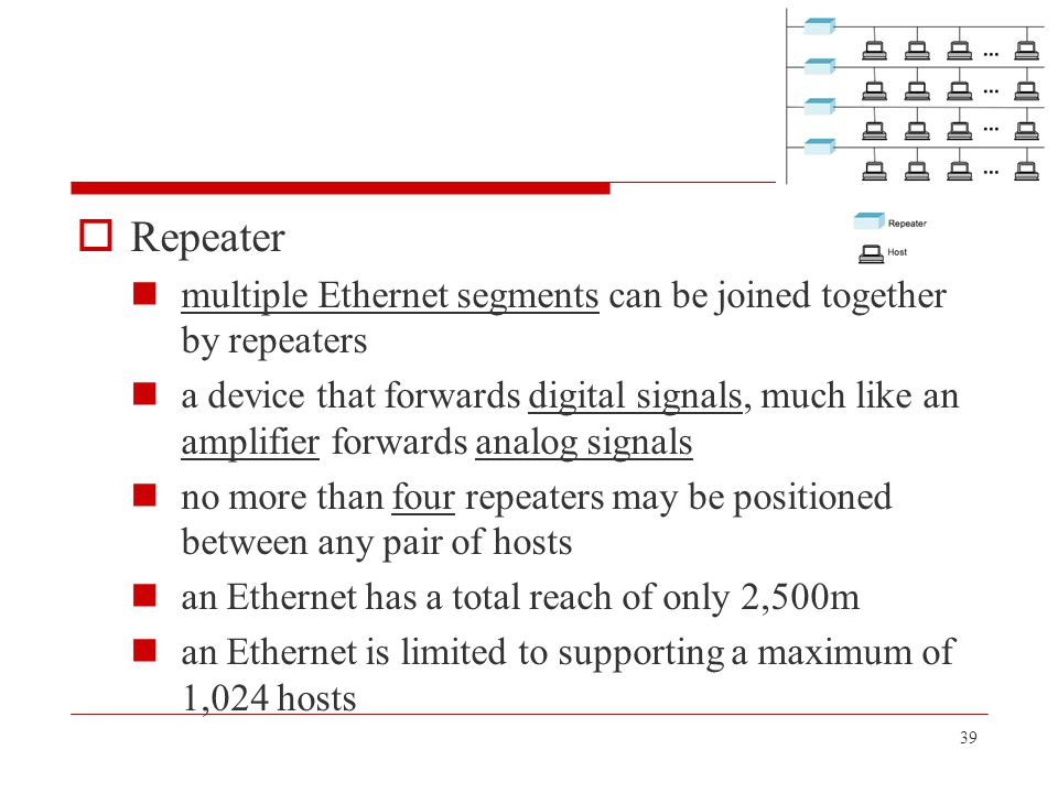 39  Repeater multiple Ethernet segments can be joined together by repeaters a device that forwards digital signals, much like an amplifier forwards a