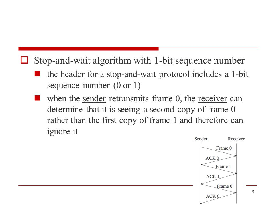  Example suppose LFR = 5 (i.e., the last ACK the receiver sent was for sequence number 5), and RWS = 4 this implies that LAF = 9 should frames 7 and 8 arrive, they will be buffered because they are within the receiver's window no ACK needs to be sent since frame 6 is yet to arrive frames7 and 8 are said to have arrived out of order 20