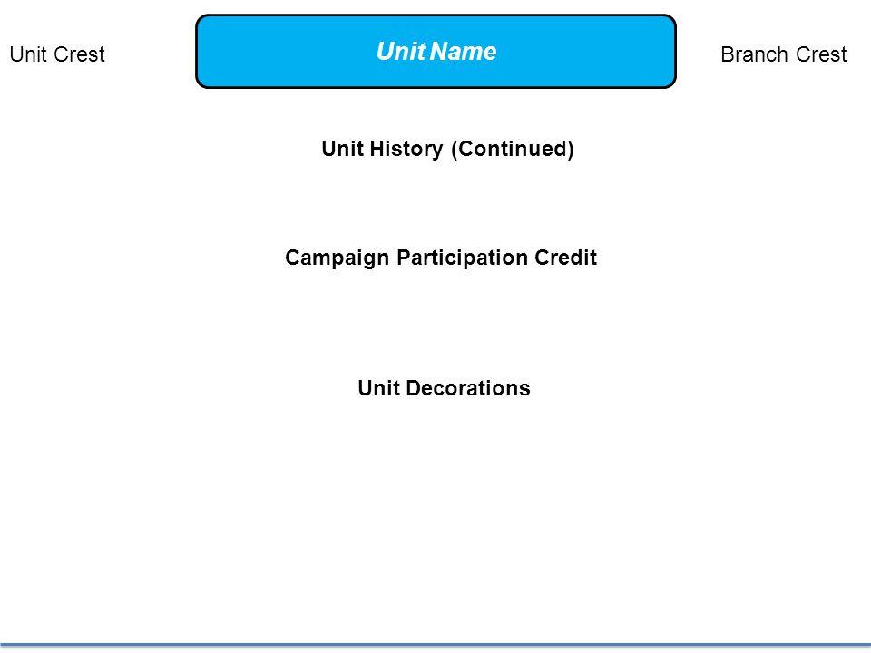 Unit History (Continued) Campaign Participation Credit Unit Decorations Unit CrestBranch Crest Unit Name
