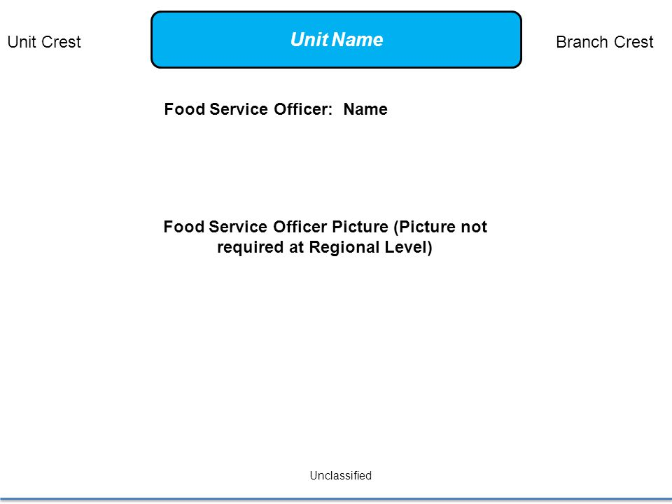Food Service Officer: Name Unclassified Food Service Officer Picture (Picture not required at Regional Level) Unit CrestBranch Crest Unit Name