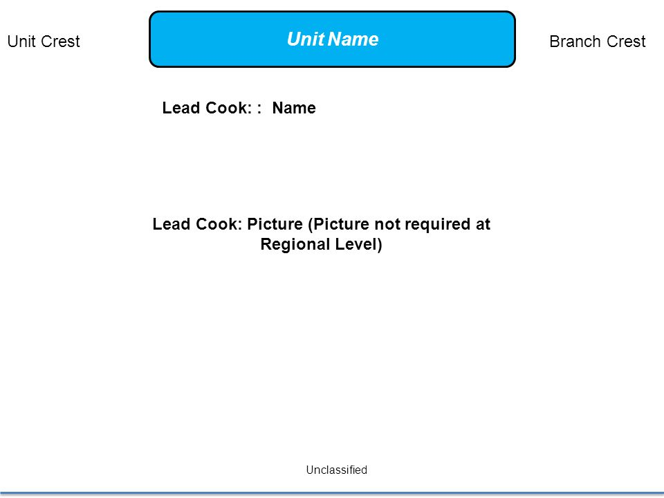 Lead Cook: : Name Unclassified Lead Cook: Picture (Picture not required at Regional Level) Unit CrestBranch Crest Unit Name